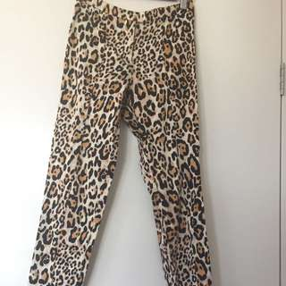 Leopard Print Tapered Pants