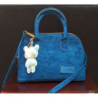 TAS BAHAN CANVAS LEATHER - BONUS BEAR CHAIN