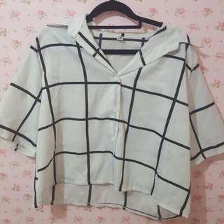🐽Grid Collared Top