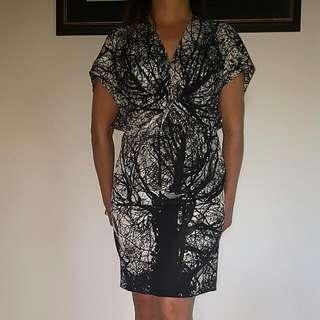 NICOLA FINETTI: Black And White Tree Dress