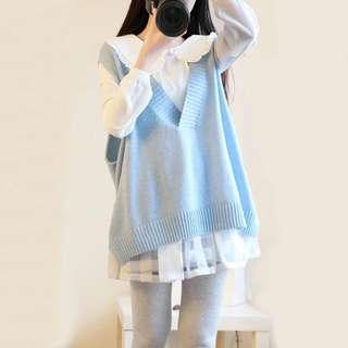 超值三件組 🎉懶人出門不NG 長版針織毛衣背心+百搭甜美荷葉襯衫+顯瘦造型短裙  三色 粉藍 粉紅 杏色