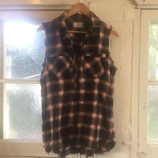 STUSSY checkered Sleeveless Button Up Sz 10