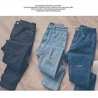 破洞牛仔褲(黑/深藍)