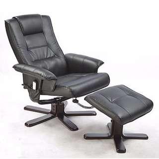 PU Leather Massage Chair Recliner Ottoman Lounge Remote Black