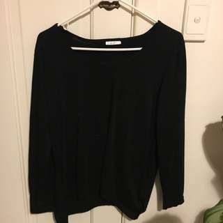 Lyric Long Sleeve Black Top