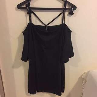 Off The Shoulder Black Cotton Dress Size M