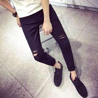 韓版新款💖刷破褲牛仔褲黑色小腳褲九分