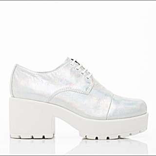 Silver Holographic Platform Heels