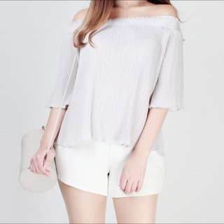 Grey Pleated Off Shoulder