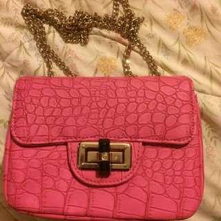 Pink Hand Bag Faux Crocodile Print