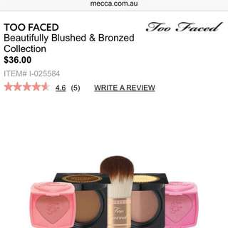 Too Faced Blushed And Bronzed Collection