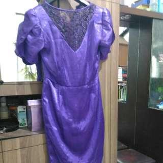 Dress Bahan Satin Dan Brukat Fit To M orL