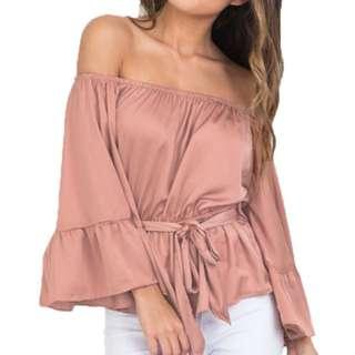Off Shoulder Flare Sleeve Peplum Silk Blouse ✖️