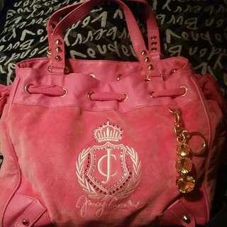 Juicy Couture Pink Large Velour Daydreamer Shoulder Handbag