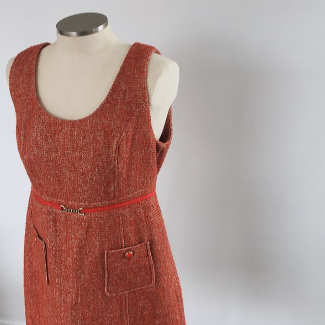 60s TWEED PINAFORE DRESS