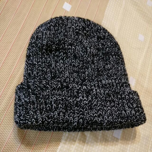 日本購入羊毛黑白交叉毛帽