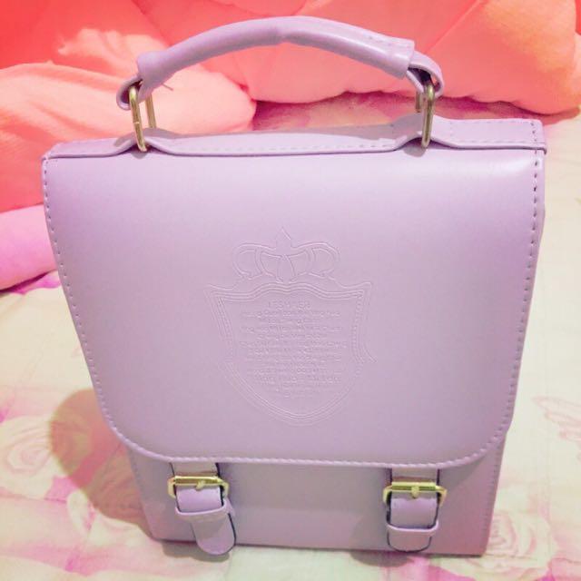 高質感 粉紫 糖果色 側背 後背 兩用包