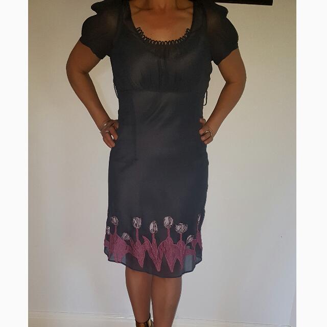 ALANNAH HILL: Sheer Gun Metal Blue Tullip Embroidered Dress