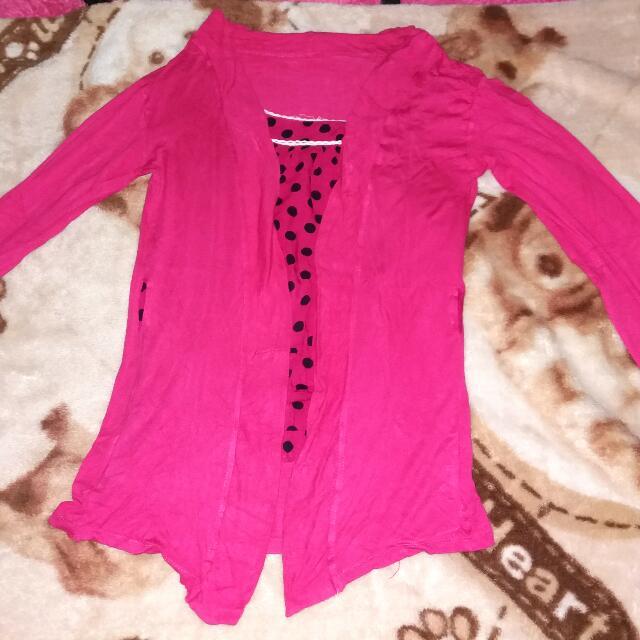 baju blazer pink polkadot