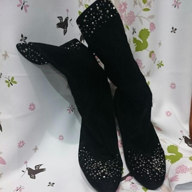 Black Suede Boots Size 37-38