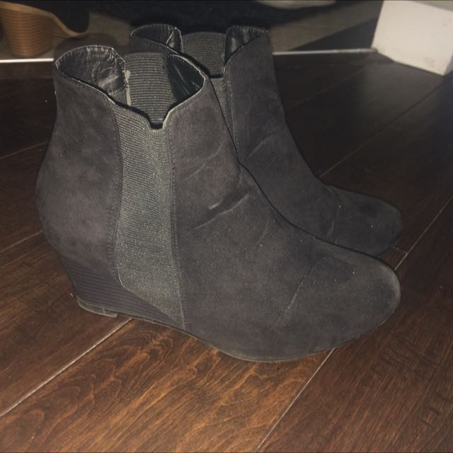 Black Wedge Heel Booties