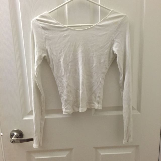 Brandy Melville White Long Sleeve Ribbed Low Back Shirt