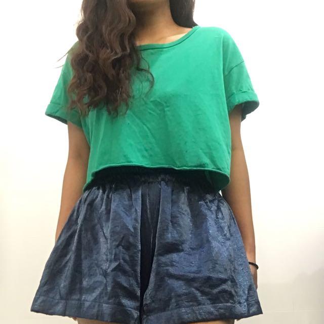 Glassons Green Basic Short Crop Top