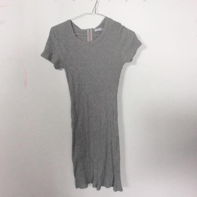 Grey bodycon casual dress