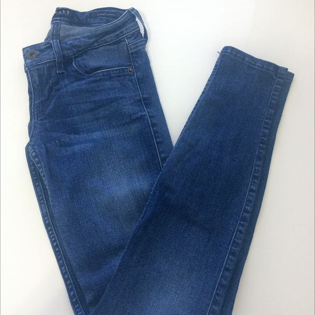 Guess Power Skinny Jeans In Medium Blue