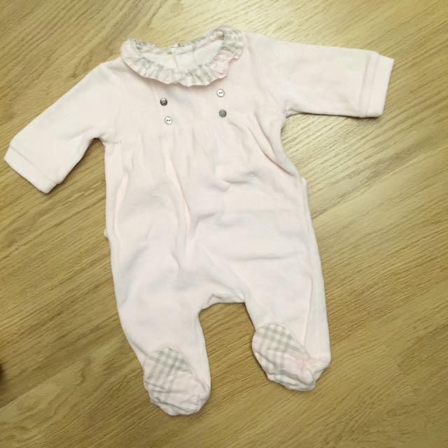 Jacadi 粉格紋寶寶連身衣