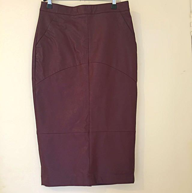 Sportsgirl Maroon Pencil Skirt