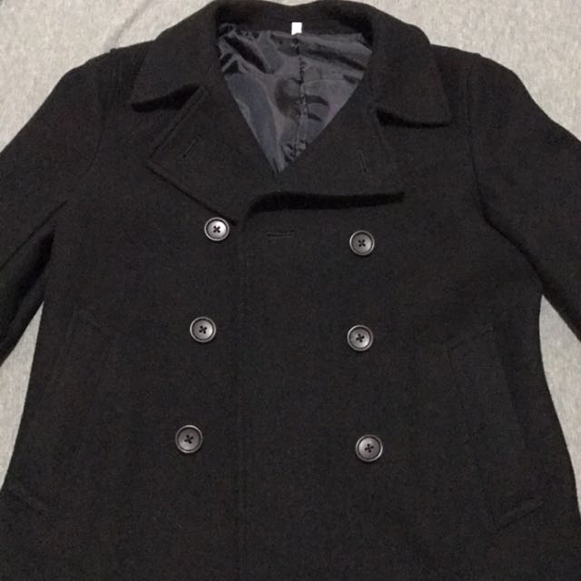 MUJI 無印良品 雙排扣修身 黑色羊毛西裝外套 女 Size:M