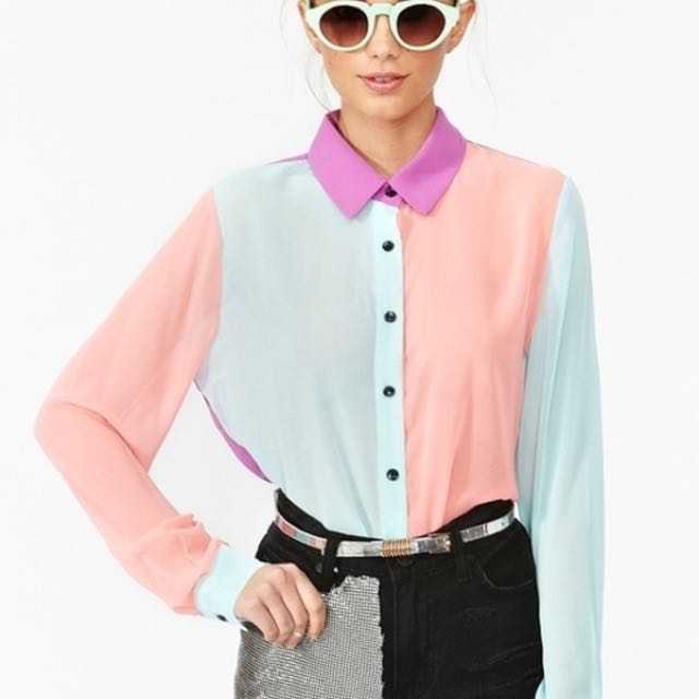 Nastygal Pastel Colorblock Colour Collar Shirt Blouse Small Size Women S Fashion Clothes Tops On Carousell