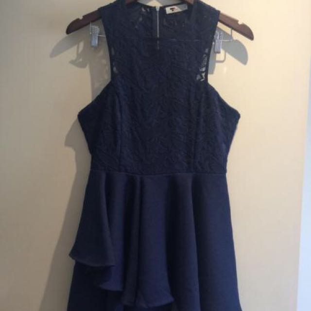 Navy Lace Top With Layered Skirt Dress