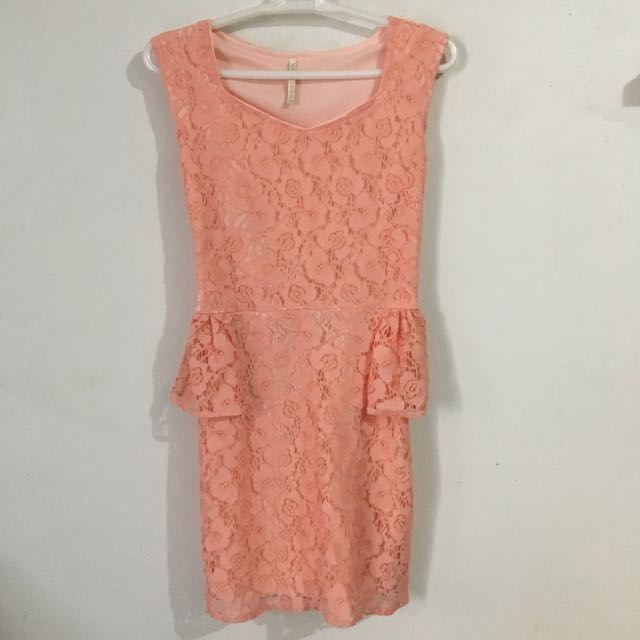 Peplum Dress Peach