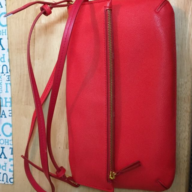 Red Fake Leather Crossbody Bag
