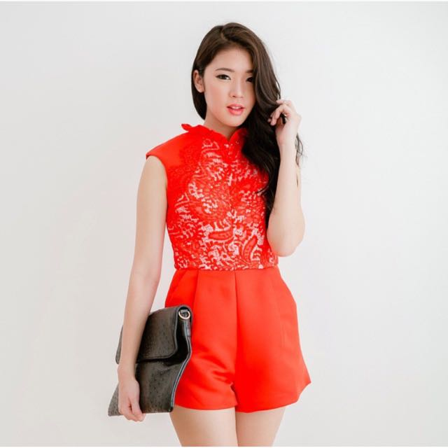 Red Lace Cheongsam Playsuit