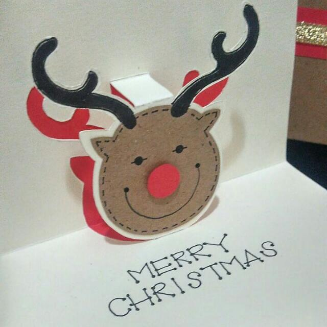 Red-nose Raindeer Pop Up Christmas Card