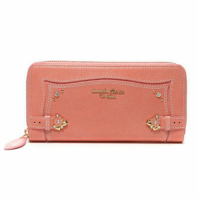 Samantha Thavasa Petit Choice Flowers Point Round Wallet (coral Pink) Leather Branded From Japan