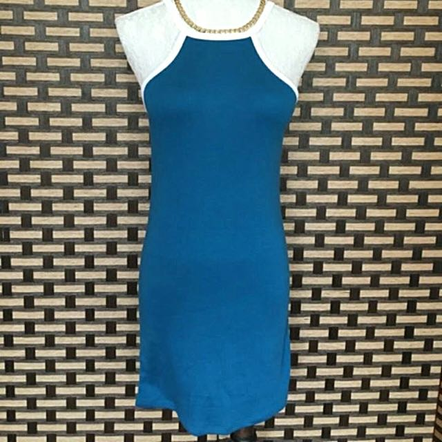 TWO TONE HALTER DRESS