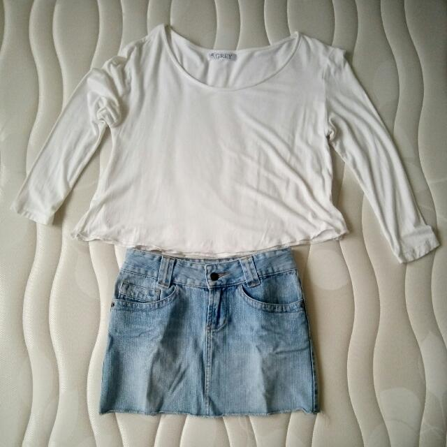 White Crop Top & Mini Skirt
