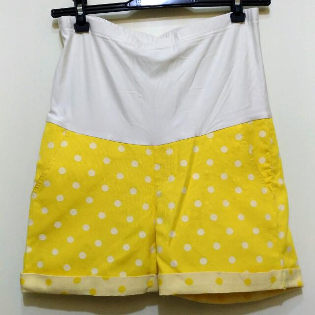 Yellow Polka Maternity Shorts
