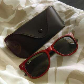 Ray Ban Red With Leather Case