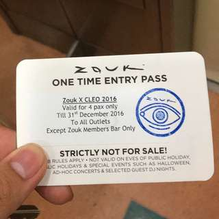 Zouk Entry Pass For 4 Pax