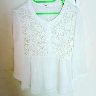 Creamwhite chiffon shirt