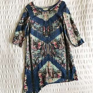 Steele Asymmetrical Silk Dress Size 6