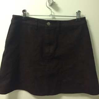 Pure Basic Suede Chocolate Brown Skirt
