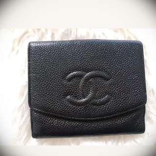 Authentic Vintage Chanel Caviar Black Wallet