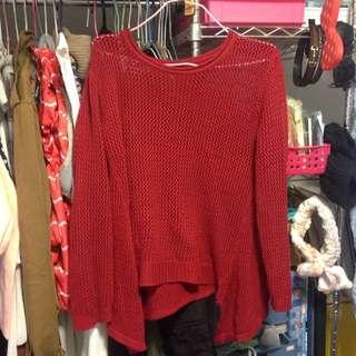 紅色針織衣