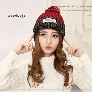 韓國保暖大毛球針織毛線帽